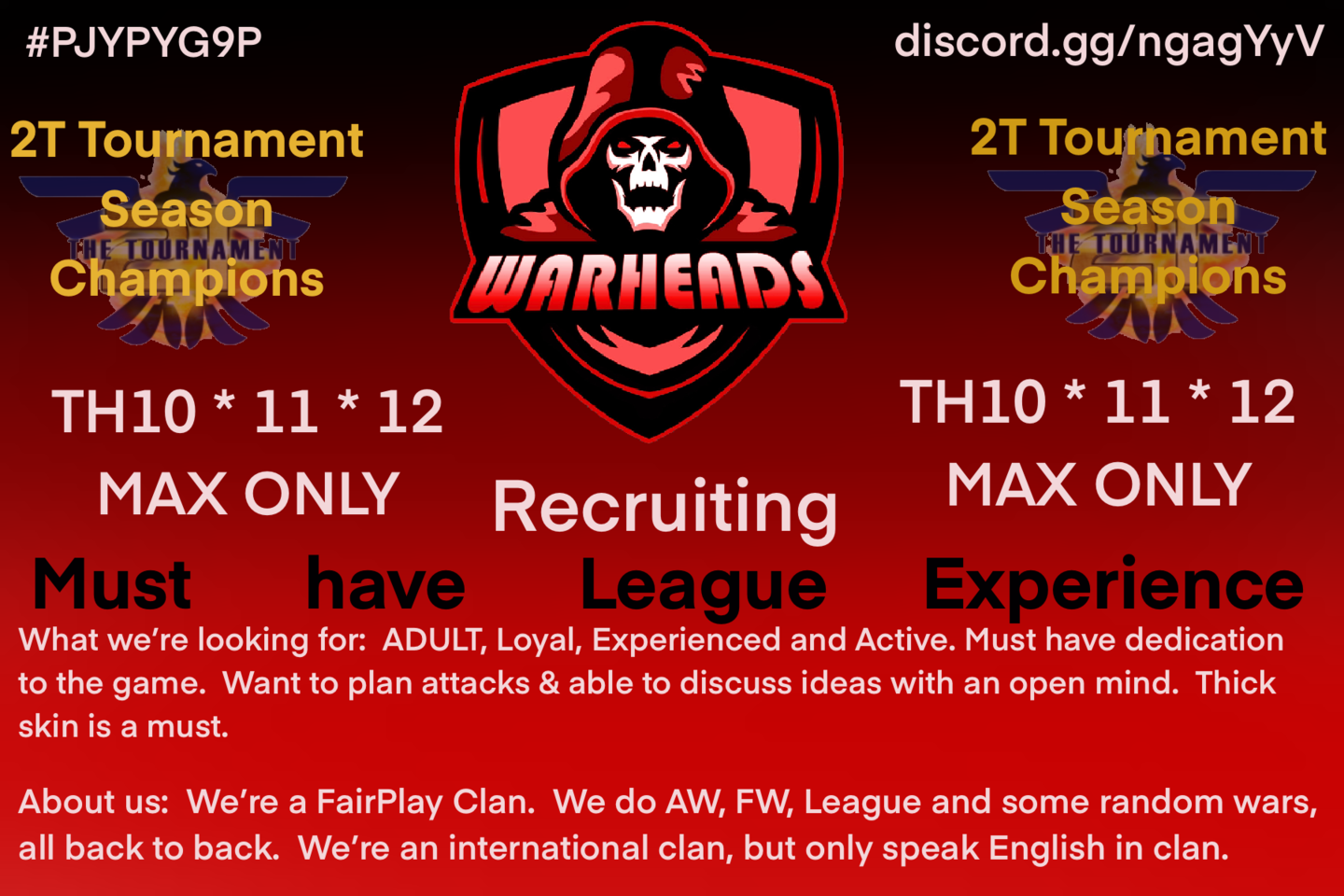 Clash of Clans - Recruiting - Looking For Players | Clash Champs