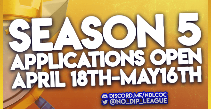 Season 5 applications close on May 16th! Don't forget to sign up!!! @No_Dip_League