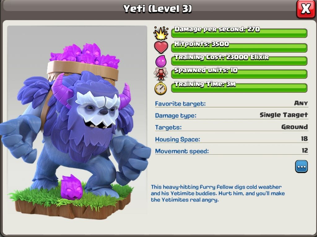 Yeti Level 3 Information