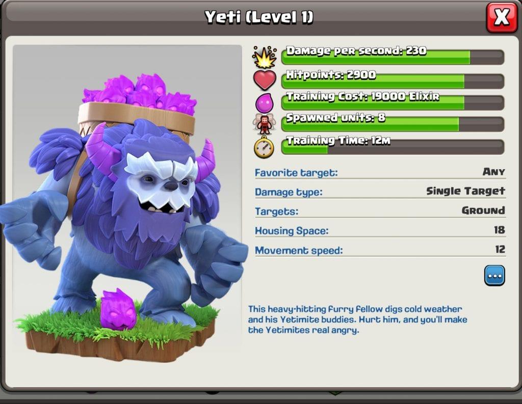 Level 1 Yeti Info