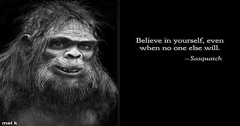 Believe in yourself, even when no one else will - Sasquatch