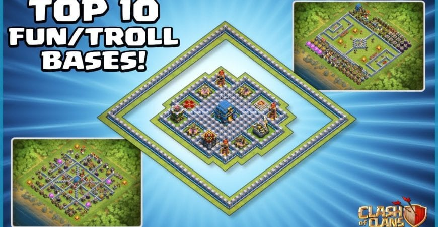 *TOP 10* FUNNY/TROLL CoC TH12 Base Designs – With COPY LINKS! – Clash of Clans by Sir Moose Gaming
