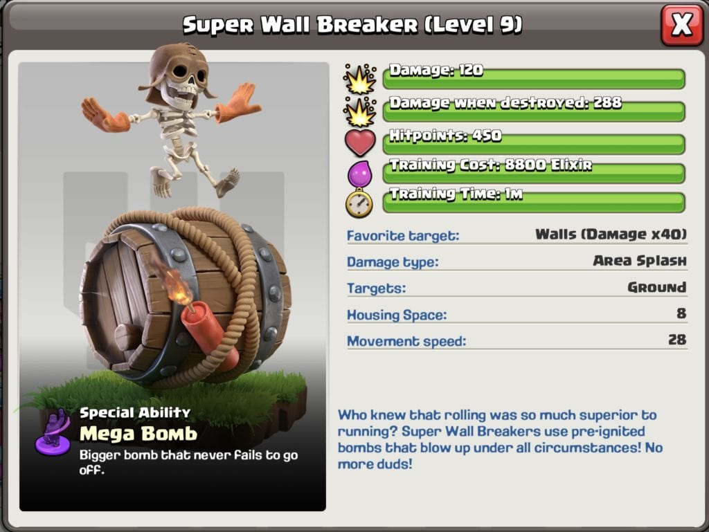 Super Wall Breaker Level 9 Town hall 11