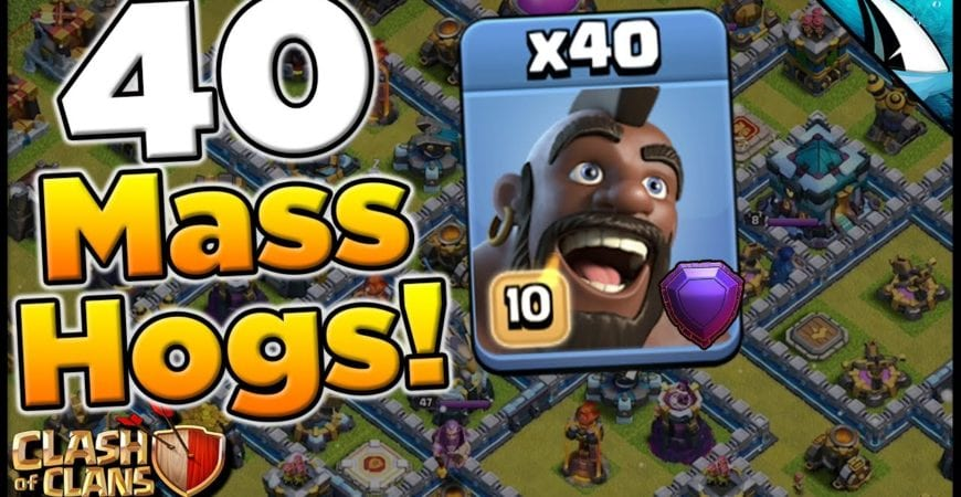 Mass Hogs Attack Strategy! 40 Hog Rider Attack! | Clash of Clans by CarbonFin Gaming