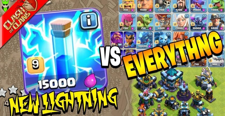 *NEW* LIGHTNING SPELL VS EVERY TROOP AND DEFENSE! by Clash Bashing!!