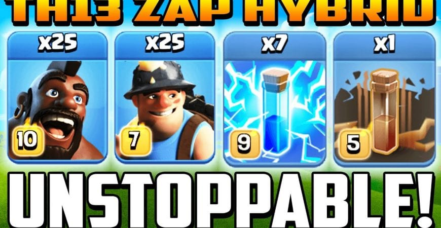 TH 13 ZAP MASS HYBRID ATTACK STRATEGY ! Town Hall 13 Miner Hog Hybrid Attacks 2020 – TH13 by Clash With Cory