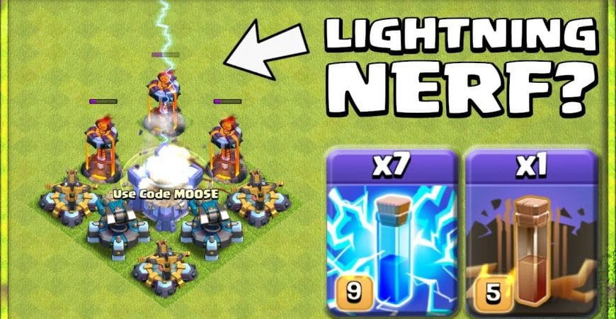 COC NEW UPDATE = LIGHTNING NERF? Is ZAPQUAKE Still Powerful? Clash of Clans by Sir Moose Gaming