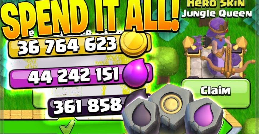 GEMMING the Gold Pass & BUYING EVERYTHING! (Clash of Clans) by Clash Bashing!!